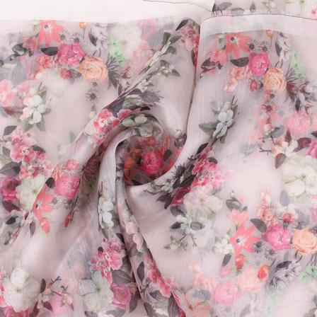 4dacb7019c30 Peach-Pink and Black Flower Organza Digital Print Fabric-51403