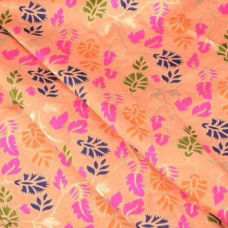 Peach-Pink and Blue Flower Digital Brocade Fabric-24084