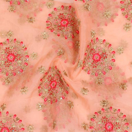 Peach Pink and Golden Circle Embroidery Organza Silk Fabric-51711