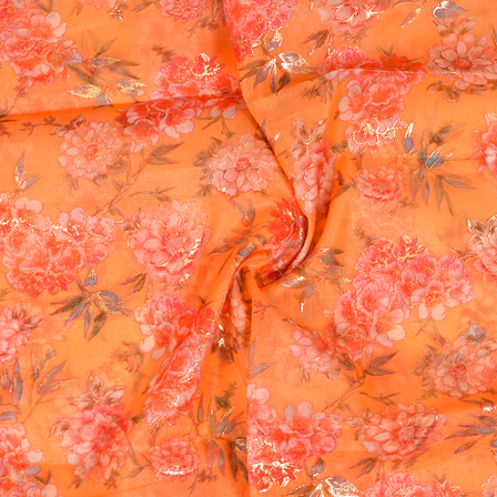 Peach-Pink and Golden Floral Design Silk Organza Fabric-50017