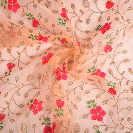 Peach-Pink and Golden Flower Organza Embroidery Fabric-51152