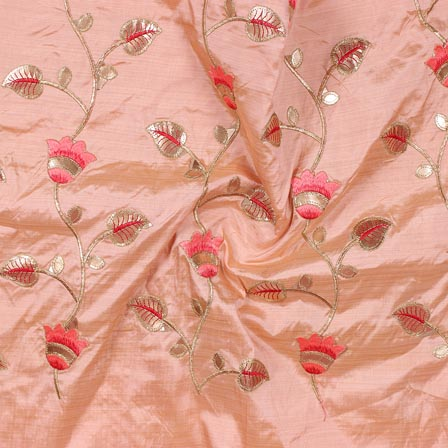 Peach Pink and Golden Jalbari Embroidery Silk Fabric-61013