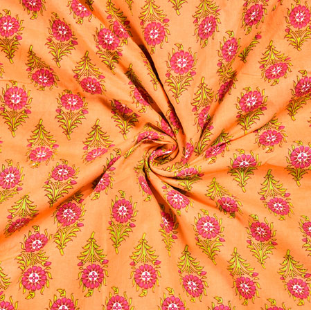 Peach Pink and Green Floral Block Print Cotton Fabric-28555