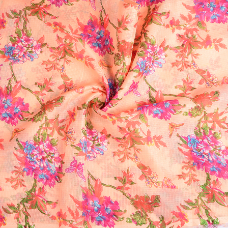 Peach-Pink and Green Flower Kota Doria Fabric-25112