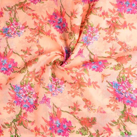 Peach-Pink and Green Flower Kota Doria Fabric-25112