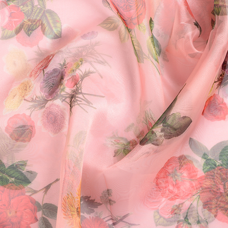 Peach-Pink and Green Flower Organza Digital Print Fabric-51341