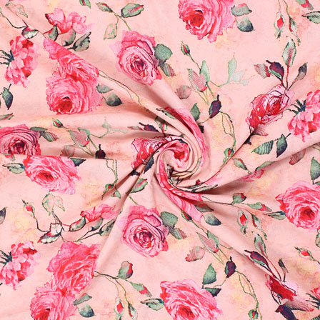 Peach Pink and Green Flower Rayon Fabric-15077