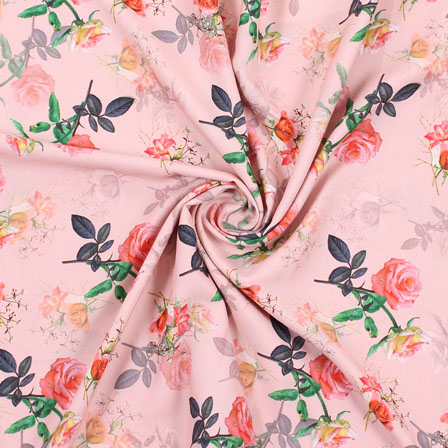 Peach Pink and Green Flower Rayon Fabric-15081