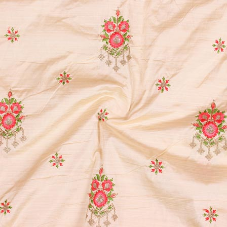 Peach Pink and Green Jalbari Embroidery Silk Fabric-61017