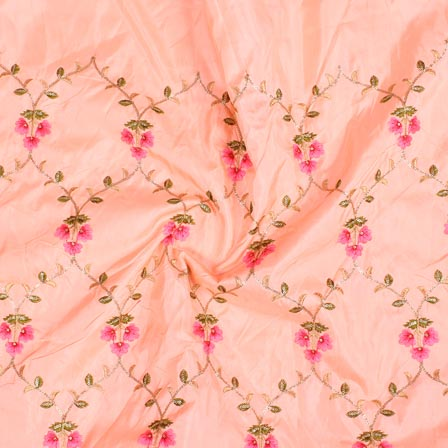 Peach Pink and Green Jalbari Embroidery Silk Fabric-61034