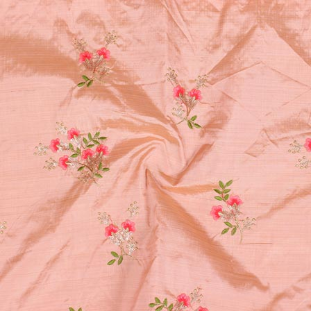 Peach Pink and Green Jalbari Embroidery Silk Fabric-61041
