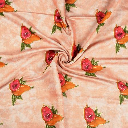 Peach-Pink and Green Jam Cotton Silk Fabric-75061