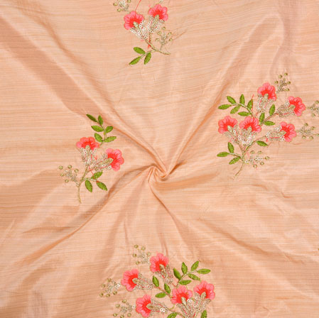 Peach Pink and Green Embroidery Silk Paper Fabric-18567