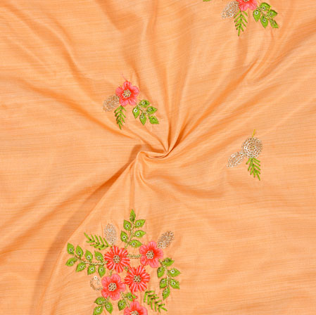 Peach Pink and Green Embroidery Silk Paper Fabric-18579
