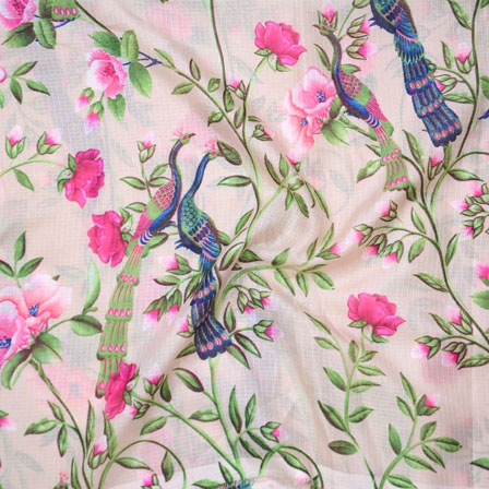 Peach Pink and Green Peacock Kota Doria Fabric-25123