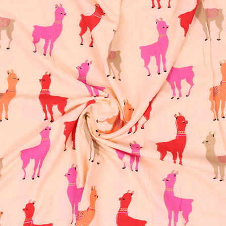 Peach Pink and Red Digital Print Rayon Fabric-15118