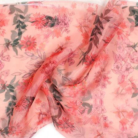 Peach Pink and White Digital Floral Organza Silk Fabric-51741