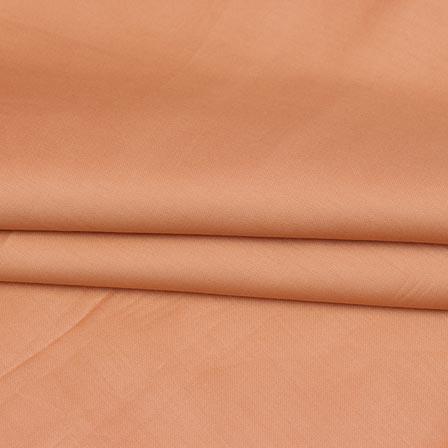 Peach Plain Cotton Silk Fabric-16459