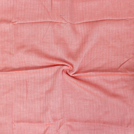 Peach Plain herring bone Handloom Khadi Fabric-40115