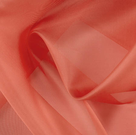 Peach Plain Organza Silk Fabric-51790