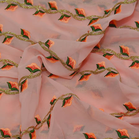 Peach Poly Georgette Base Fabric With Green and Golden Floral Embroidery-60042