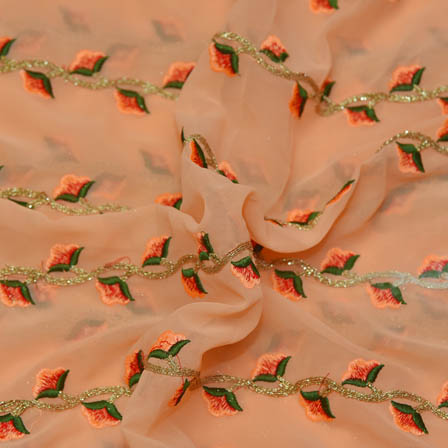 Peach Poly Georgette Base Fabric With Green and Golden Floral Embroidery-60046
