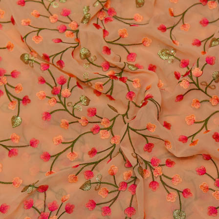 Peach Poly Georgette Base Fabric With Green and Pink Flower Embroidery-60027
