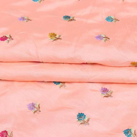 Peach Purple and Cyan Flower Chinnon Embroidery Fabric-29269