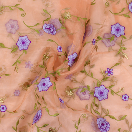 Peach-Purple and Green Flower Organza Embroidery Fabric-51430