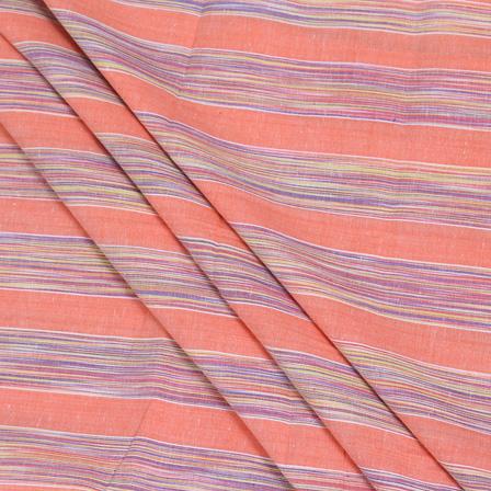 Peach-Purple and Yellow Dyed Stripe Handloom Cotton Khadi Fabric-40022