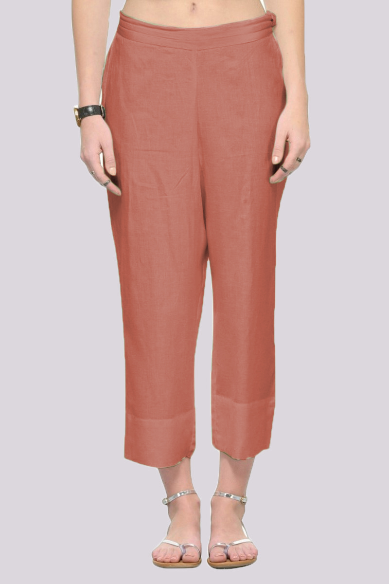 Peach Rayon Ankle Length Pant-33685