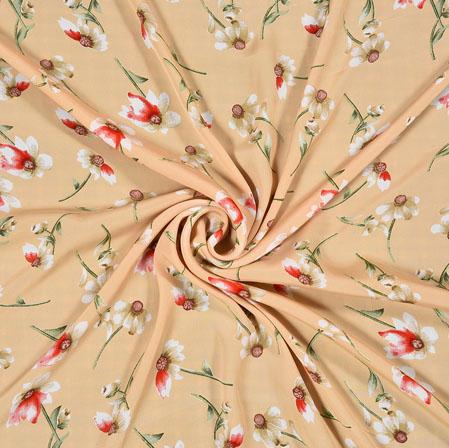 Peach Red Digital Flower Print Georgette Fabric-41216
