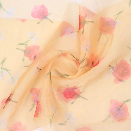 Peach Red Digital Organza Silk Fabric-51611