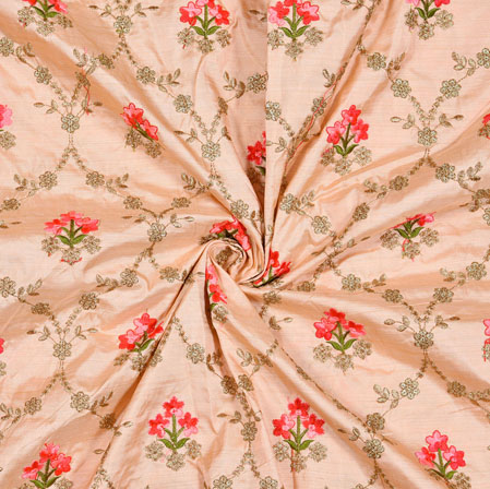 Peach Red Floral Bamboo Embroidery Silk Fabric-18915