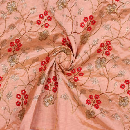 Peach Red and Golden Jalbari Embroidery Silk Fabric-61022