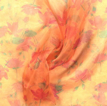 Peach Red and Green Digital Floral Organza Silk Fabric-51825