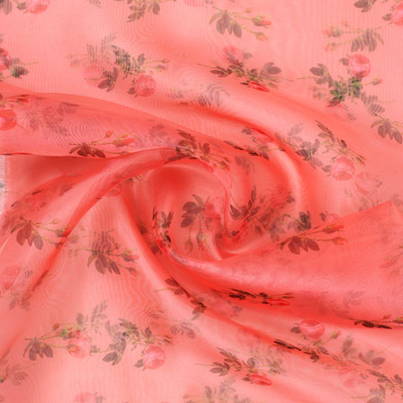 Peach Red and Green Digital Organza Silk Fabric-51541
