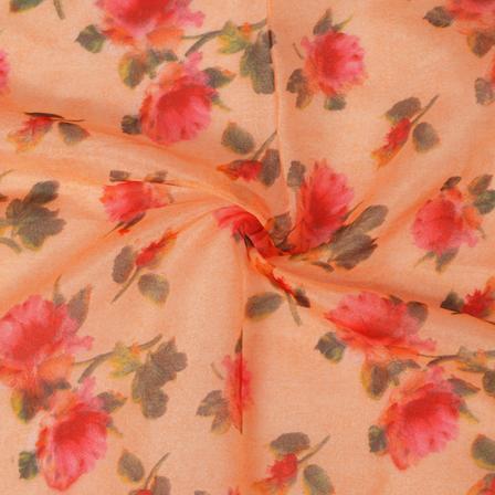 Peach-Red and Green Flower Design Organza Silk Fabric-50016