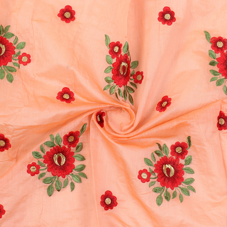 Peach-Red and Green Flower Design Silk Embroidery Fabric-60240