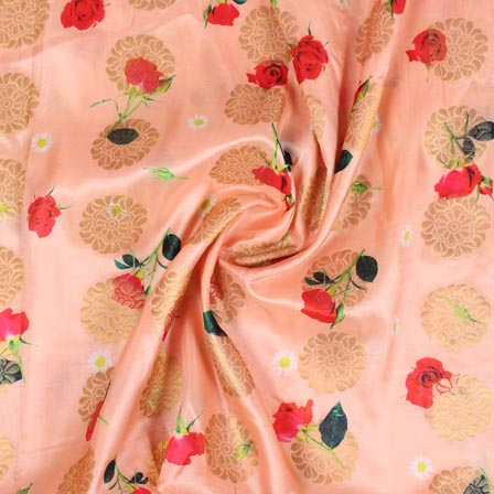 Peach Red and White Floral Digital Banarasi Silk Fabric-9204