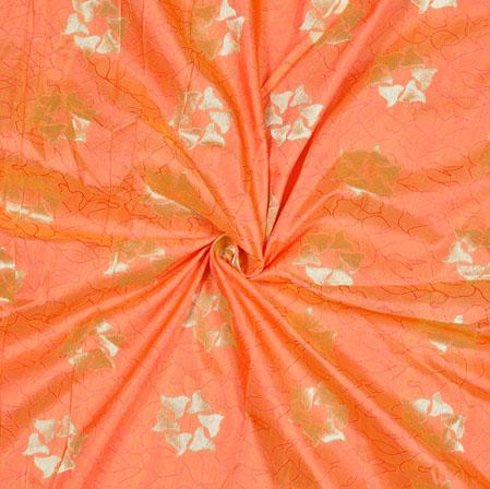 Peach Silver Floral Brocade Silk Fabric-12786