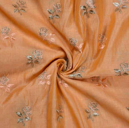 Peach Silver Flower Burbari Big Embroidery Fabric-28303