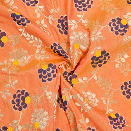 Peach Silver and Blue Floral Banarasi Silk Fabric-12080