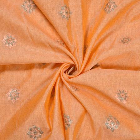 Peach Silver star Burbari Big Embroidery Fabric-28286