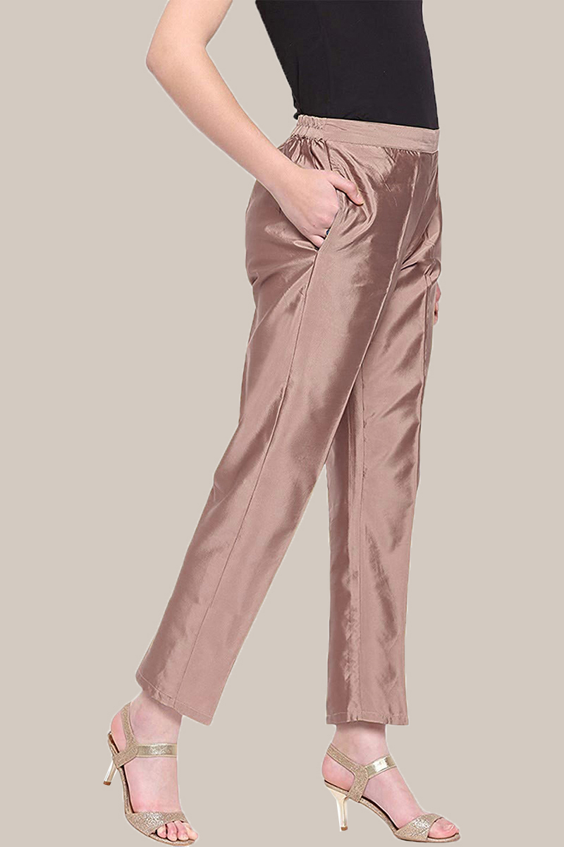 Peach Taffeta Silk Ankle Length Pant-33976