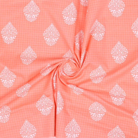 Peach White Block Print Cotton Fabric-14942
