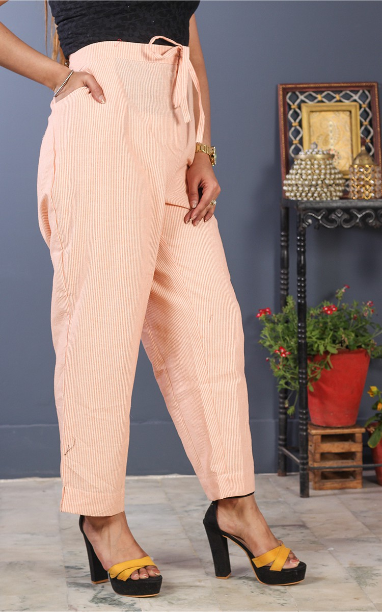 Peach White Cotton Stripe Pant-35204