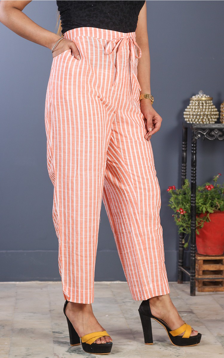 Peach White Cotton Stripe Pant-35206