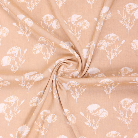 Peach White Floral Print Rayon Fabric-15268