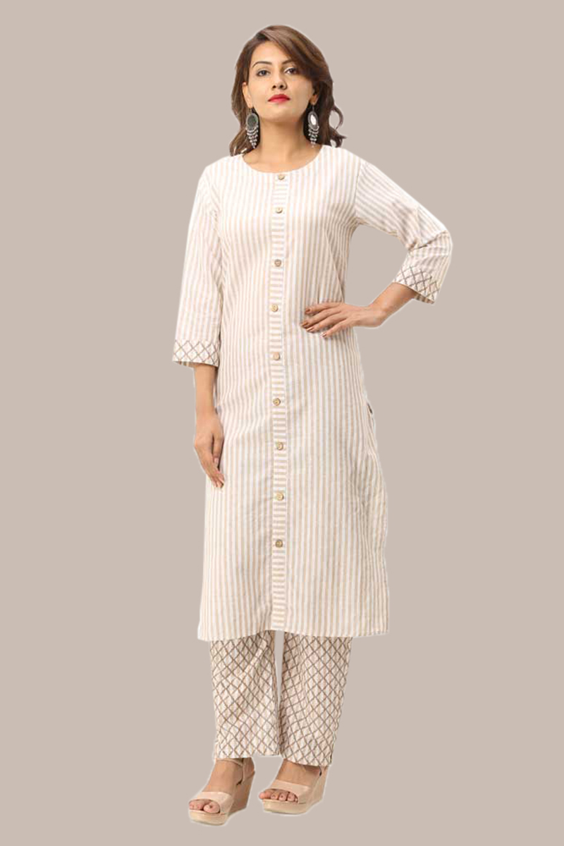 Kurta Pant Set-Peach White Handloom Cotton Kurta Stripe Pant Set-33731